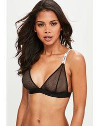 Missguided - Black Babe Power Slogan Mesh Triangle Bra - Lyst