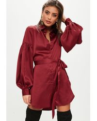 Missguided - Wine Satin Shirt Dress With Puff Sleeves - Lyst
