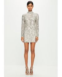 Missguided - Peace + Love Sequin High Neck Sequin Dress - Lyst