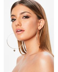 Missguided - Gold Look Hoop With Heart Charm - Lyst
