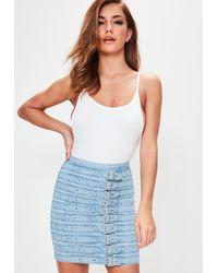 Missguided - Blue Buckle Belted Denim Mini Skirt - Lyst