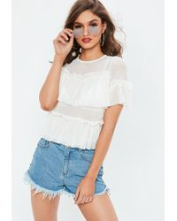 7bb69907ed3ca7 Missguided - White Dobby Spot Mesh Frill Short Sleeve Top - Lyst