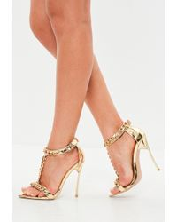 Missguided - Peace + Love Gold Chain Embellished Sandal - Lyst