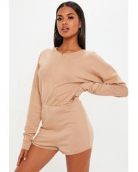 965373706682 Lyst - Missguided Ribbed Sleeveless 3 4 Leg Unitard Jumpsuit Camel