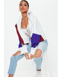 Missguided - White Ultimate Oversized Boxy Windbreaker Jacket - Lyst