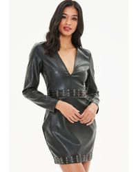 Missguided - Black Faux Leather Metal Eyelet Bodycon Dress - Lyst