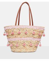Missguided - Pink Pom Pom And Tassel Wicker Shopper Bag - Lyst