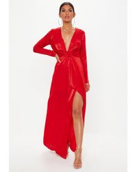 Missguided - Tall Red Wrap Front Maxi Dress - Lyst
