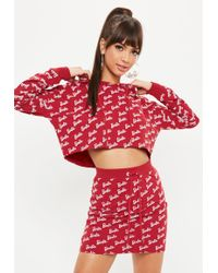 Missguided - Barbie X Red Repeat Printed Cropped Hoodie - Lyst