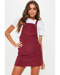 Missguided - Burgundy Cord Pinafore Dress - Lyst