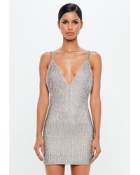 Missguided - Peace + Love Silver Embellished Bodycon Mini Dress - Lyst