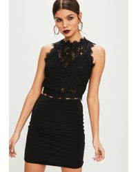 Missguided - Tall Black Cornelli Lace Sleeveless Crop Top - Lyst
