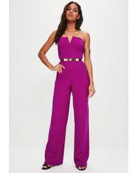 Missguided - Purple V Bar Bandeau Wide Leg Jumpsuit - Lyst