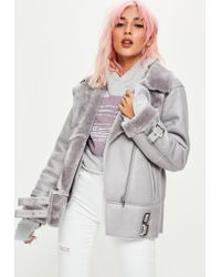 Missguided - Grey Ultimate Aviator Jacket - Lyst