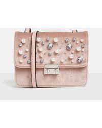 Missguided - Pink Embellished Velvet Cross Body Bag - Lyst