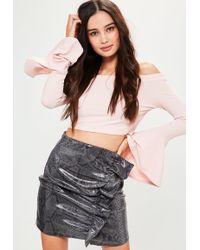 0e513071d Lyst - Missguided Tall Zip Detail Faux Leather Mini Skirt Black in Black