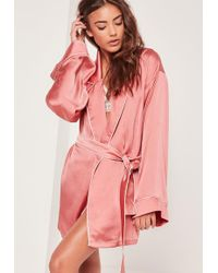 Missguided - Pink Kimono Piped Detail Satin Robe - Lyst