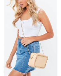 Missguided - Nude Chain Trim Cross Body Bag - Lyst