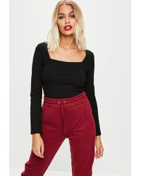 Missguided - Black Square Neck Top - Lyst