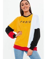Missguided - Mustard Colorblock Paris Slogan Sweatshirt - Lyst