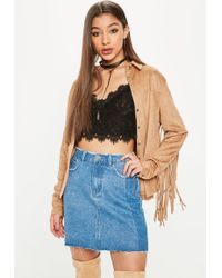 Missguided - Brown Western Suedette Fringe Back Shirt - Lyst