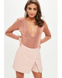 Missguided - Nude Pearl Embellished Wrap Skirt - Lyst