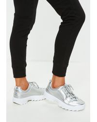 Missguided - Silver Metallic Chunky Trainers - Lyst