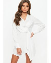 Missguided - Ivory Asymmetric Knot Front Shirt Dress - Lyst