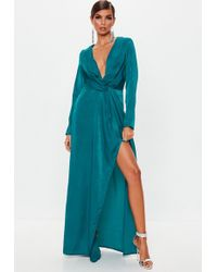Missguided - Teal Wrap Front Maxi Dress - Lyst