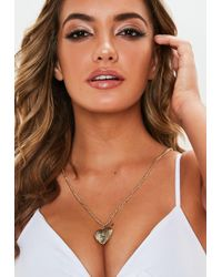 Missguided - Gold Look Long Drop Heart Pendant - Lyst