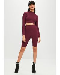 Missguided - Burgundy Ribbed Cycling Shorts - Lyst