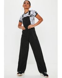 Missguided - Black Cord Dungaree Jumpsuit - Lyst