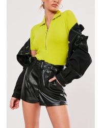 Lyst - Missguided Yellow Square Neck Bodysuit in Yellow 87d4035b0