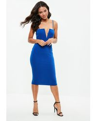Missguided - Blue Strappy V Bar Midi Dress - Lyst