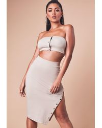 Missguided - Sand Ribbed Bandeau Crop Top - Lyst