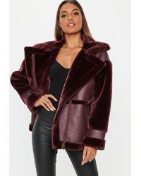 Missguided - Wine Faux Fur Sleeve Aviator Jacket - Lyst