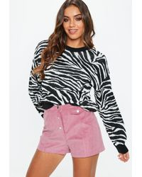 Missguided - Pink Cord Button Shorts - Lyst