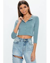 32655471c0c16 Missguided - Grey Button Front Long Sleeve Crop Top - Lyst