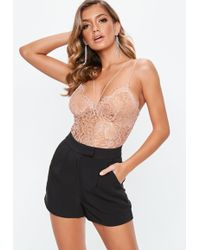 Missguided - Petite Nude Corded Lace Harness Bodysuit - Lyst