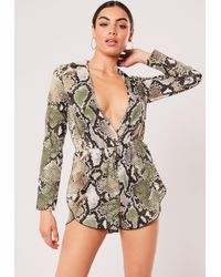 c5c1f1a061e Missguided - Brown Snake Print Long Sleeve Tie Waist Playsuit - Lyst