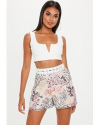 Missguided - Nude Embroidered Lace Ladder Shorts - Lyst