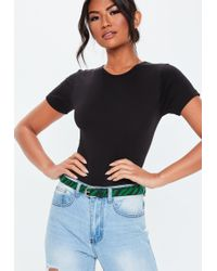 Missguided - Green Animal Printed Belt - Lyst