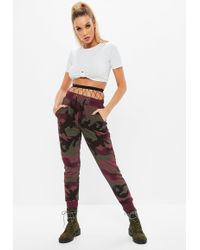 Missguided - Burgundy Camo Tie Waist Joggers - Lyst