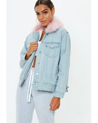 Missguided - Blue Fur Lined Ostrich Collar Denim Jacket - Lyst