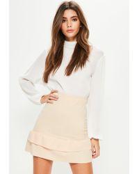 11397c4751 Missguided - Petite Nude Double Frill Hem Scuba Mini Skirt - Lyst
