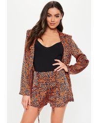 Missguided - Rust Animal Print Lace Up Co Ord Shorts - Lyst