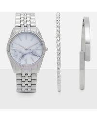 Missguided - Silver Watch & Bracelet Set - Lyst