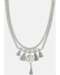 Missguided - Silver Tassle Chain Necklace - Lyst