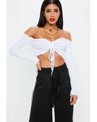 Missguided - White Ruched Frill Bardot Crop Top - Lyst