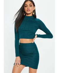 Missguided - Green Ribbed Turtle Neck Top - Lyst